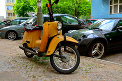 Altes Motorrad, Berlin, Deutschland Lizenzfreie Stockfotografie
