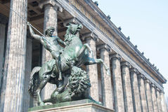 Altes Museum in the Museumsinsel. Horse statue at the door of the Altes Museum (Old Museum) in Berlin, Germany stock photography