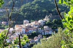 Altes normannisches ` s Schloss und mittelalterliche Stadt, Lamezia Terme, Kalabrien, Italien Lizenzfreie Stockfotos