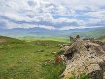Altes Observatorium von Zorats Karer, Karahunj, berühmter Armenian Stonhenge in Sisian, Armenien 9 lizenzfreie stockbilder