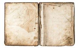 Altes offenes Buch mit grungy Papierseiten Stockbilder