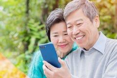 Altes Paare selfie glücklich Lizenzfreie Stockfotografie