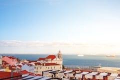 Altes Panorama Lissabons Portugal Stadtbild mit Dächern Der Tajo Stockbilder