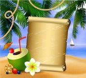 Altes Papier auf tropischem Hintergrund Stockfotos