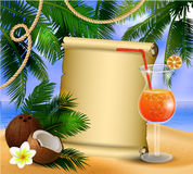 Altes Papier auf tropischem Hintergrund Lizenzfreies Stockbild