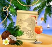 Altes Papier auf tropischem Hintergrund Lizenzfreie Stockfotos