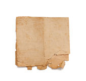 Altes Papier lokalisiert auf Weiß lizenzfreie stockfotografie