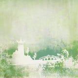 Altes Papier mit asiatischer Landschaft Stockfotografie