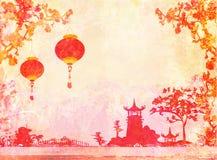 Altes Papier mit asiatischer Landschaft Stockbilder