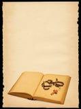 Altes Papier mit Buch und Rosenbeet Stockfoto