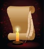 Altes Papier mit Feder und Kerze Stockbilder