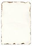Altes Papier mit gebrannten Rändern Stockfotografie