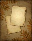 Altes Papier mit Herbstblättern Stockfotos