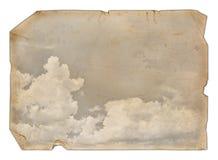 Altes Papier mit Wolken Stockfotos