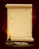 Altes Pergament mit einer Leuchte Lizenzfreies Stockfoto