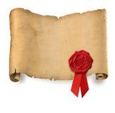 Altes Pergament mit roter Wachsdichtung Lizenzfreies Stockfoto