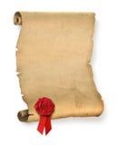 Altes Pergament mit roter Wachsdichtung stockbilder