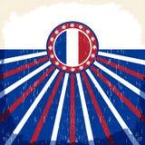 Altes Plakat Frankreich-Weinlese mit französischen Flaggenfarben Lizenzfreie Stockfotos