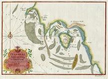 ALTES PLAN-LA BAYE UND INSEL D ` ARGUIM AFRIKA MAURETANIEN 1747 Stockfotos