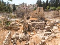Altes Pool von Bethesda-Ruinen Alte Stadt von Jerusalem Stockfotografie