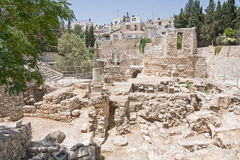 Altes Pool von Bethesda ruiniert inOld Stadt von Jerusalem Lizenzfreie Stockbilder