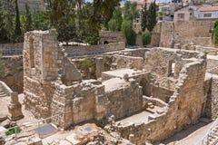Altes Pool von Bethesda ruiniert inOld Stadt von Jerusalem Stockfoto