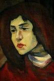 Altes Porträt des Frauenöls auf einem Segeltuch stock abbildung