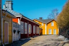 Altes Porvoo - die mittelalterliche Stadt in Finnland Stockbild