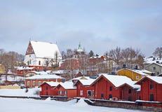 Altes Porvoo am Wintertag Lizenzfreie Stockfotos