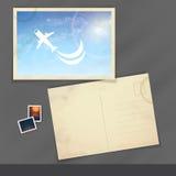 Altes Postkarten-Design, Schablone Lizenzfreie Stockfotos