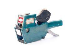 Altes Preisschild, Shoppreiskalkulationsgewehr, weicher Schatten, auf einem weißen backg Stockfotografie