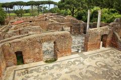 Altes römisches Bad-Mosaik Ostia Antica Rom Lizenzfreie Stockfotos