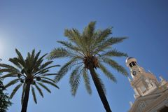 Altes Rathaus in Cadiz Glockenturm auf Hintergrund des blauen Himmels Stockbild