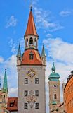 Altes Rathaus clock tower Stock Photography