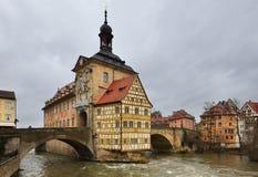 Altes Rathaus in de winter. Bamberg, Beieren. Royalty-vrije Stock Fotografie
