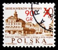 Altes Rathaus, 18. Jahrhundert, 700. Jahrestag von Warschau-serie, circa 1972 lizenzfreie stockfotografie