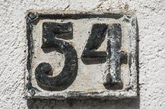Altes Retro- Roheisenkennzeichen 54 Stockfotografie