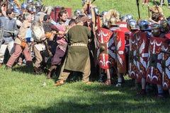 Altes Rom: Wiederinkraftsetzung des Kampfes zwischen Marcus Aurelius und Ballomar Stockbilder