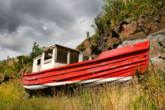Altes rotes Boot Stockfotografie
