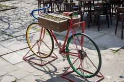 Altes rotes Weinlesefahrrad mit Blumen im Blumenbeetrahmen, der auf der Straße steht Lizenzfreie Stockfotos