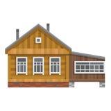 Altes russisches Landhaus Vektor flach Lizenzfreies Stockfoto