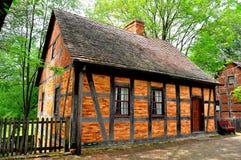 Altes Salem, NC: Viertes Haus Fachwerk 1765 lizenzfreies stockfoto
