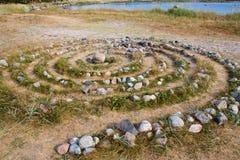 Altes Sami Steinlabyrinth auf Solovetsky Insel stockbild