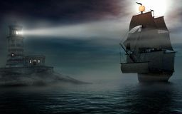 Altes Schiff im Nebel Stockfotos