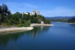 Altes Schloss in den mountians Schloss in Niedzica Polen Stockfotografie