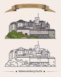 Altes Schloss Hohensalzburg in Österreich, Salzburg Außenansicht der Palastarchitektur oder des Retro- Gebäudes auf Berg may Stockbilder