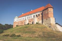 Altes Schloss vom 14. Jahrhundert in Sandomierz befindet sich durch die Weichsel Lizenzfreie Stockbilder