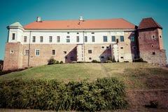 Altes Schloss vom 14. Jahrhundert in Sandomierz befindet sich durch die Weichsel Stockfotos