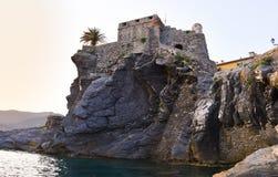 Altes Schloss von Camogli eine berühmte Stadt im Norden von Italien stockbild