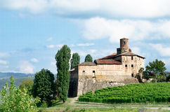 Altes Schloss von La Volta, Barolo in Italien in Langhe-wineyard Stockbild